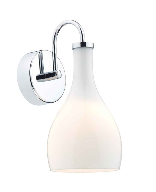 Soho 1 Light Polished Chrome and White Glass Wall Light