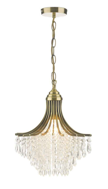 Suri Antique Brass with Clear Crystal Glass Beads Pendant Light
