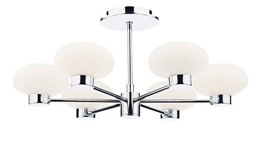 System 6 Light Polished Chrome with Opal Glass Semi Flush Pendant