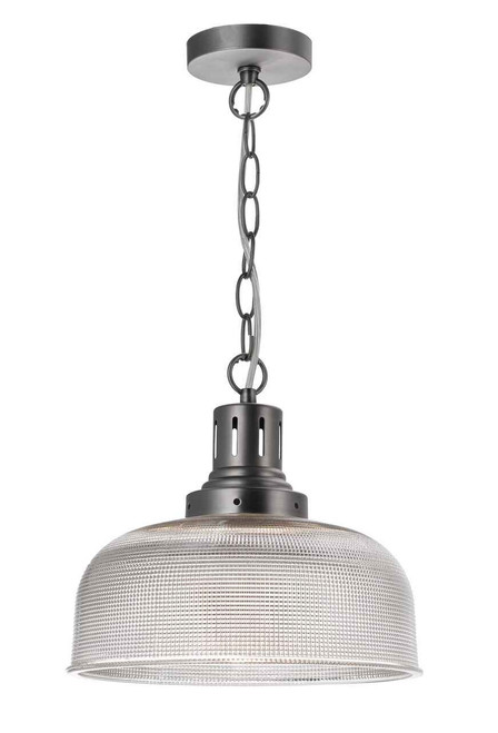 Tack 1 Light Glass Industrial Antique Chrome Pendant Light