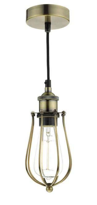 Taurus Antique Brass Cage Pendant Light