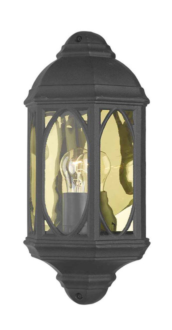 Tenby Matt Blackwith Bevelled Glass IP43 Wall Light