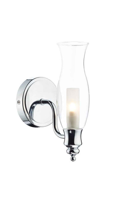 Vestry 1 Light Polished Chrome and Clear Glass IP44 Wall Light