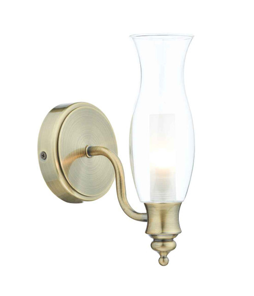 Vestry 1 Light Antique Brass and Clear Glass IP44 Wall Light