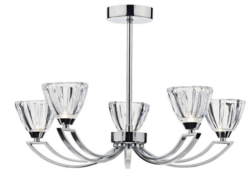 Vito 5 Light Polished Chrome and Crystal Glass Semi Flush Ceiling Light