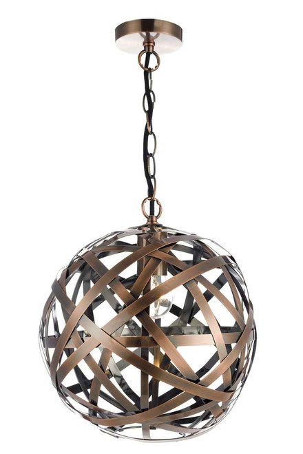 Voyage 1 Light Woven Antique Copper Ball Pendant Light