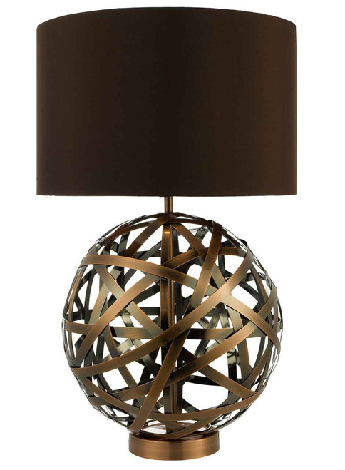 Voyage Woven Antique Copper Ball with Faux Silk Brown Shade Table Lamp