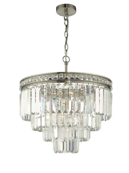Vyana 4 Light 4 Tier Pendant Brushed Nickel and Crystal Pendant Light