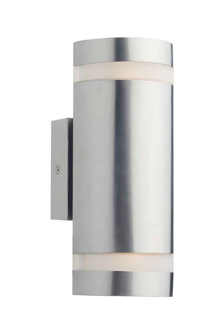 Wessex 2 Light Stainless Steel with Frosted Glass Cylinder IP44 Wall Light