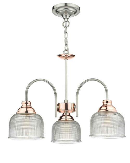 Wharfdale 3 Light Satin Chrome and Copper with Glass Shades Pendant Light