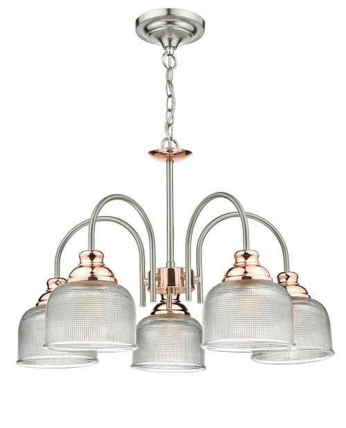 Wharfdale 5 Light Satin Chrome and Copper with Glass Shades Pendant Light