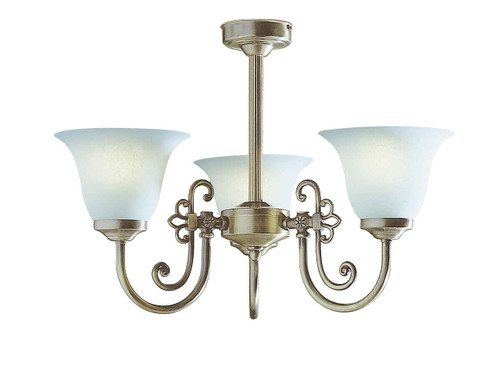 Woodstock 3 Light Antique Brass with White Glass Pendant Light