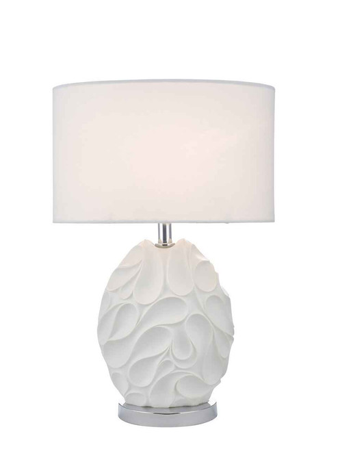 Zachary White Oval with Shade Table Lamp