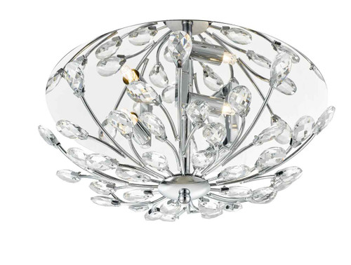 Zafir 3 Light Flora Crystal Decoration Chrome Frame Flush Ceiling Light