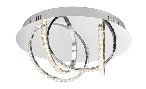 Zancara 4Lt Polished Chrome and Crystal LED Flush Ceiling Light