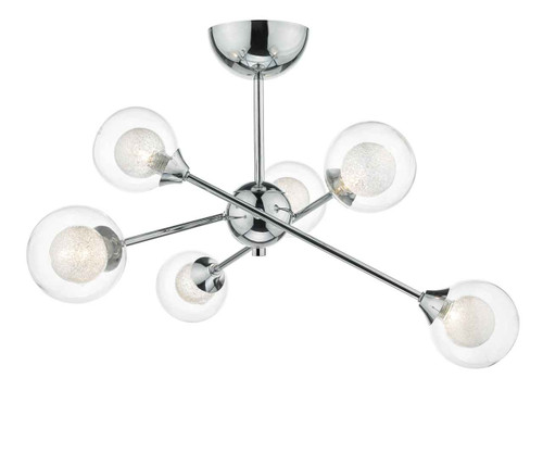 Zeke 6 Light Polished Chrome Semi Flush Pendant Light