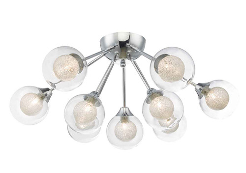 Zeke 9 Light Polished Chrome Semi Flush Ceiling Light