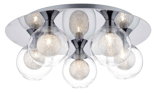 Zeke 5 Light Polished Chrome Flush Ceiling Light