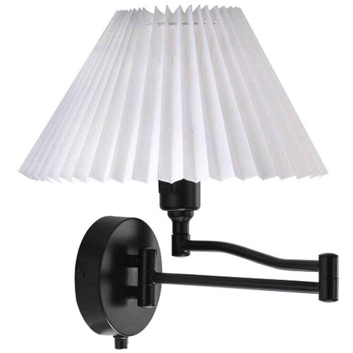 Break Black with White Pleated Shade Indoor Wall Light