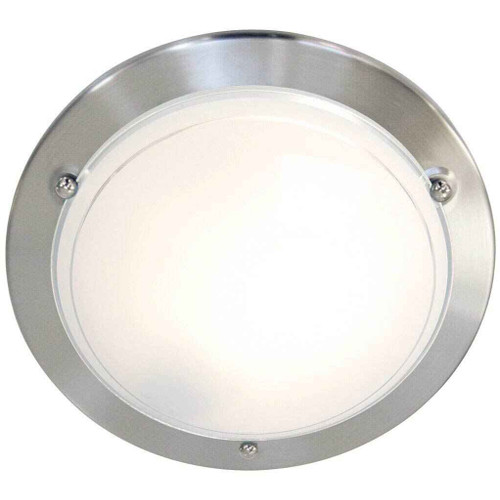 Spinner Brushed steel with Opal White Glass Ceiling Light