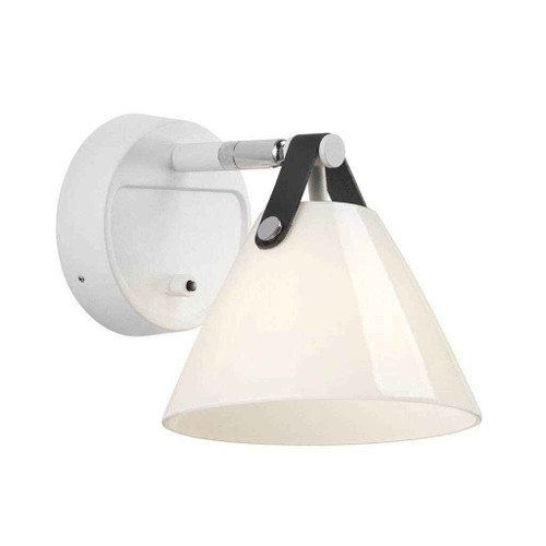 Strap 15 White and Opal White Glass with Leather Strap Wall Light