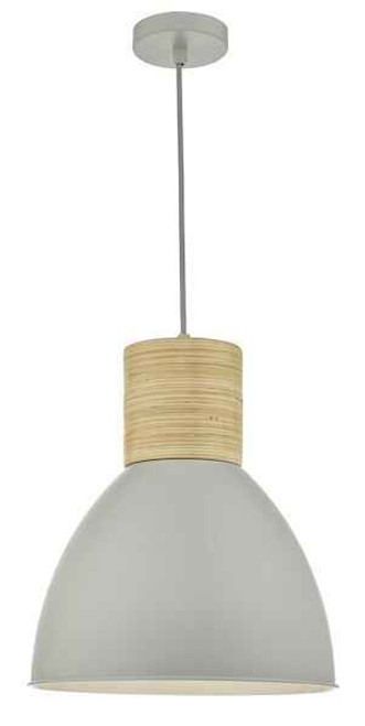 Adna Grey and Natural Wood Pendant Light