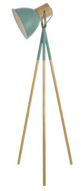 Adna Green And Natural Wood Floor Lamp