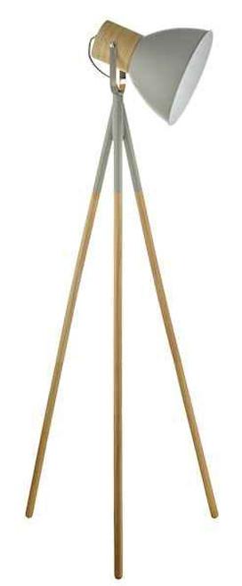Adna Grey and Natural Wood Floor Lamp