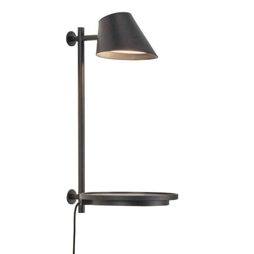 Stay Black Finish with Shelf and USB Adjustable Wall Light