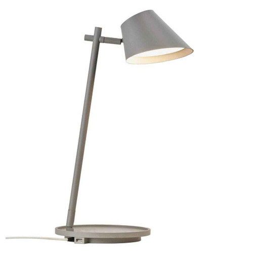 Stay Grey Finish with USB Adjustable Table Lamp
