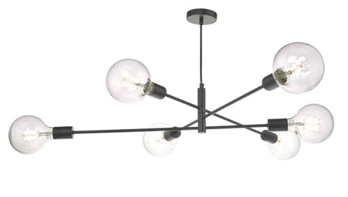 Alana 6 Light Matt Black Pendant Light