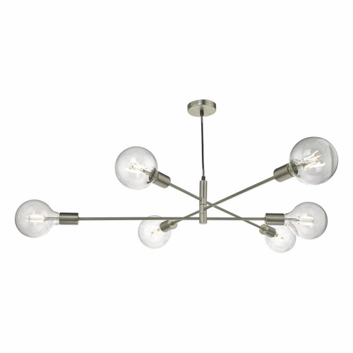 Dar Lighting Alana 6 Light Satin Chrome Pendant Light
