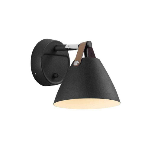 Strap 15 Black with Brown Leather Strap Detail Wall Light