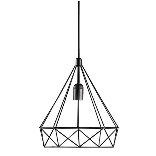 Aire Black Wire Cage with Black Suspension Pendant Light