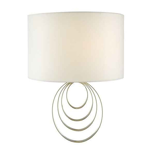 Alsie Antique Brass with Faux Silk Ivory Shade Wall Light