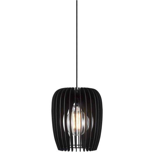 Tribeca 24 Black with Black Wooden Shade Pendant Light