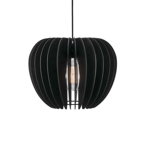 Tribeca 38 Black with Black Wooden Shade Pendant Light