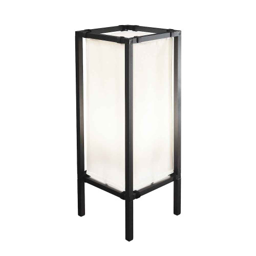 Palermo Lounge Lantern Large Black with White Fabric Shade IP44 Outdoor Floor Lamp