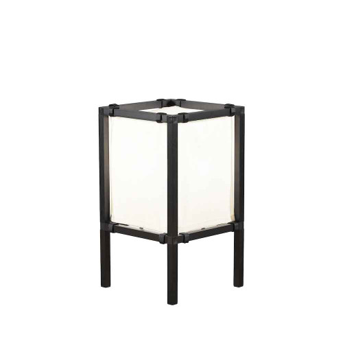 Palermo Lounge Lantern Small Black with White Fabric Shade IP44 Outdoor Floor Lamp