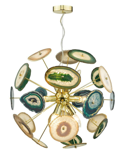 Achates 9 Light Gold and Agate Pendant Light