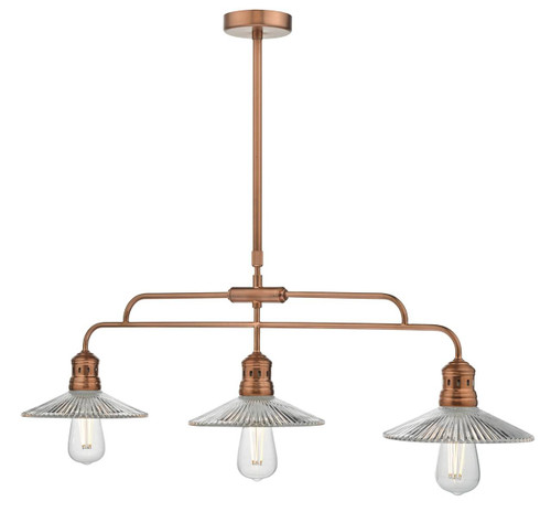 Adeline Brushed Copper with Glass Shade Bar Pendant Light