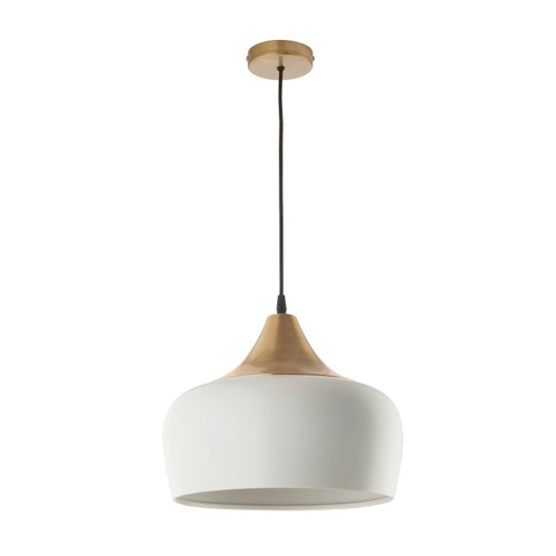 Amiel Antique Brass with Matt Chalk White Shade Pendant Light