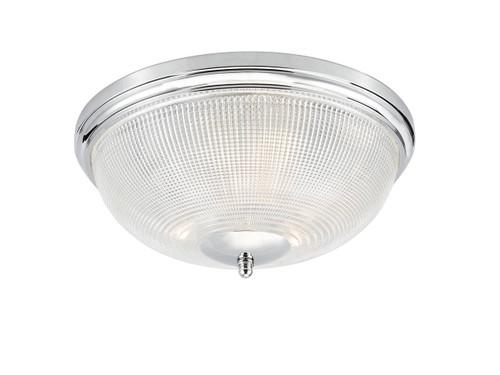 Arbor 3 Light Polished Chrome with Prismatic Glass IP44 Flush Ceiling Light