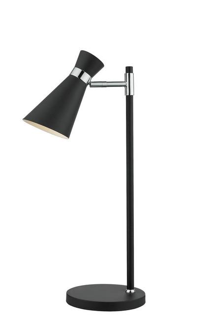 Ashworth Matt Black and Polished Chrome Adjustable Table Lamp