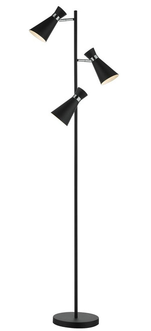 Ashworth 3 Light Matt Black and Polished Chrome Adjustable Floor Lamp