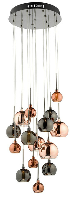 Aurelia 15 Light Copper and Bronze Glass Shades Cluster Pendant