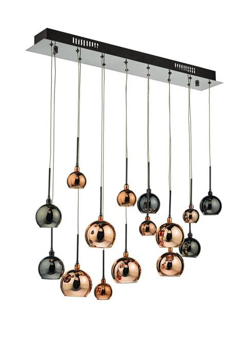 Aurelia 15 Light Black Chrome and Copper Glass Shades Bar Pendant