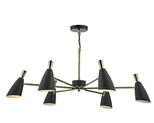 Diego 6 Light Matt Black with Polished Gold Adjustable Pendant Light
