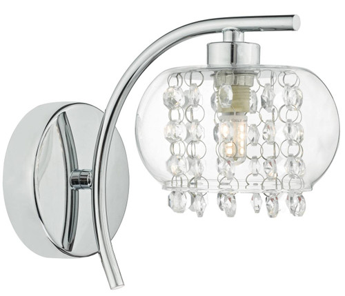 Elma Polished Chrome with Crystal Glass Beads Wall Light