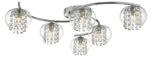 Elma 6 Light Polished Chrome with Crystal Glass Beads Semi Flush Ceiling Light